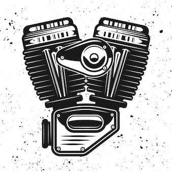 Illustrazione nera del motore del motociclo isolata sulla priorità bassa del grunge