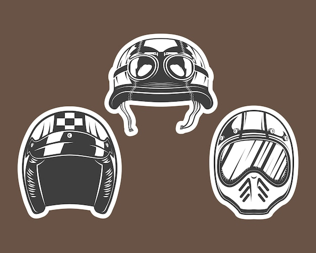 Icona del casco da motociclista impostata su sfondo marrone