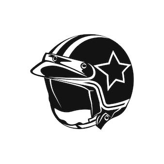 Illustrazione di stile monocromatico del casco del motociclo