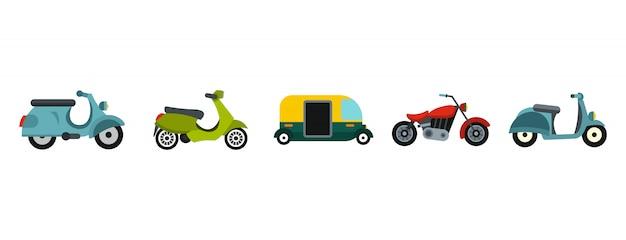 Set di icone del motociclo. insieme piano della raccolta delle icone di vettore del motociclo isolato