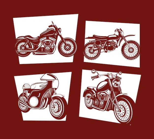 Collezione di icone di etichette per moto su sfondo rosso