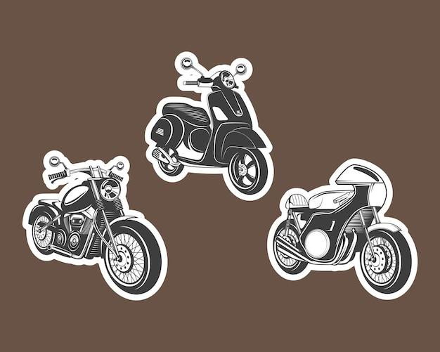 Icona di etichette per moto impostata su sfondo marrone