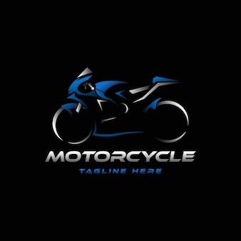 Logo della motocicletta su sfondo nero sagoma di superbike da corsa moderna