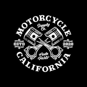 Distintivo di logo di vettore del pistone del motociclo