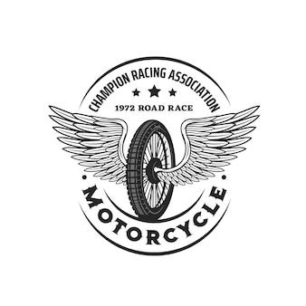 Simbolo dell'icona vintage dell'associazione sportiva motociclistica