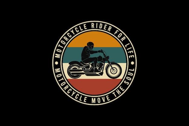 Motociclista per la vita, design in stile nevischio