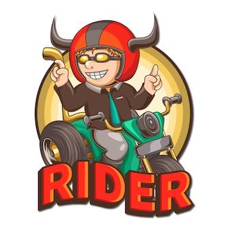 Illustrazione del logo della mascotte del motociclista