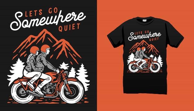 Design della maglietta del motociclista
