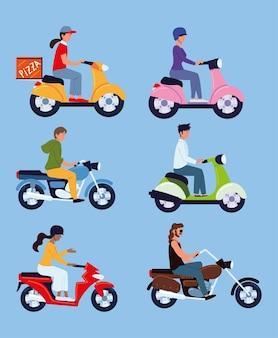 Set di motociclisti