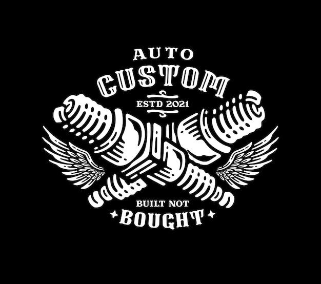Incrocio della candela del motociclo con un emblema del logo delle ali in vintage