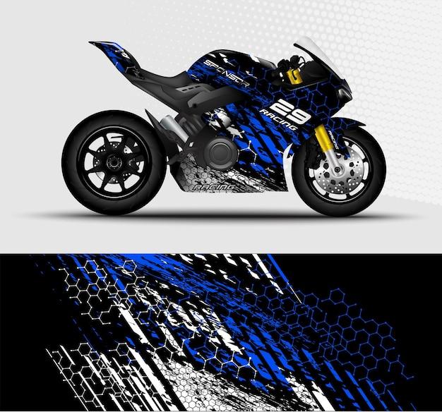 Moto sportbikes avvolgono strisce da corsa decalcomania con sfondo astratto