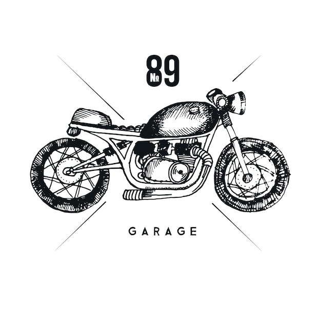 Vettore elegante moto. illustrazione grafica della moto d'epoca
