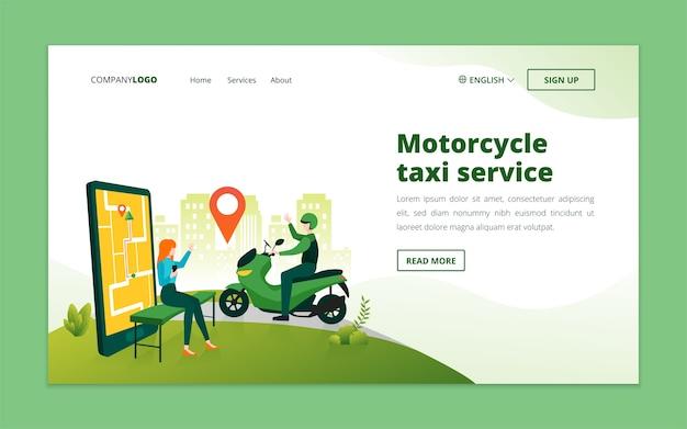 Modello di pagina di destinazione del taxi per moto