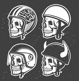Casco da disegno fatto a mano a tema motociclistico con teschio.