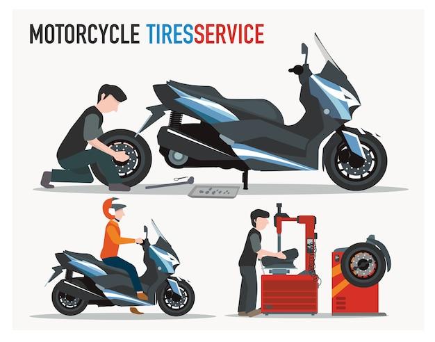 Negozio di pneumatici per moto progettato in modo piatto Vettore Premium
