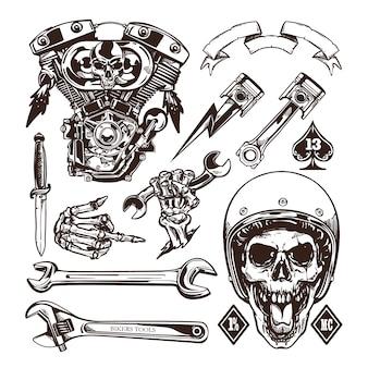 Stile disponibile del disegno di insieme di elementi di vettore del motociclo