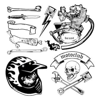 Insieme di elementi di vettore del motociclo. stile monocromatico