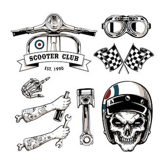 Insieme di elementi di vettore del motociclo in stile vintage