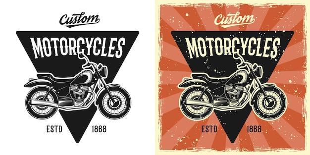 Emblema, badge, etichetta, logo o t-shirt vettoriale per motocicletta stampata in due stili monocromatico e vintage colorato con texture grunge rimovibili