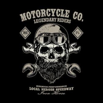 Disegno della maglietta dell'emblema del logo dell'annata del motociclo