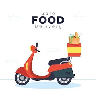 Motocicletta con sacchetto della spesa consegna sicura degli alimenti