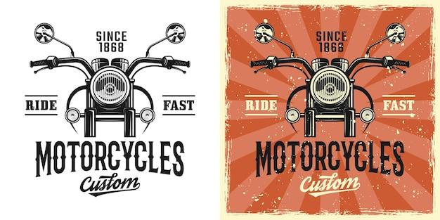Emblema, badge, etichetta, logo o t-shirt con stampa personalizzata di motociclette in due stili monocromatici e vintage colorati con texture grunge rimovibili
