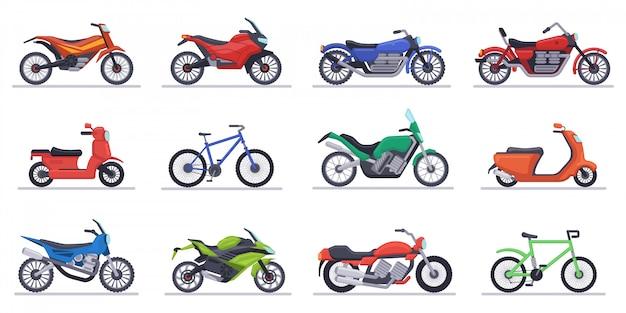 Motociclette e scooter. set di icone di moto, velocità moderne veicoli, scooter, moto da cross e illustrazione di elicotteri. raccolta di velocità di moto e trasporto