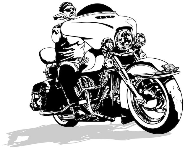 Motociclista su moto harley davidson