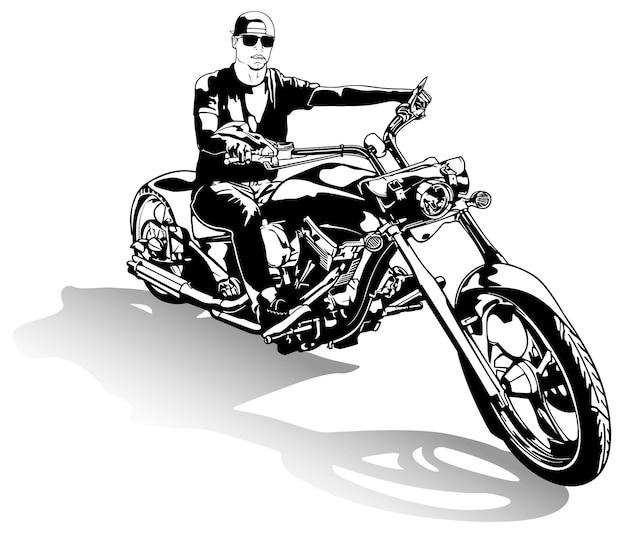 Motociclista su disegno di moto