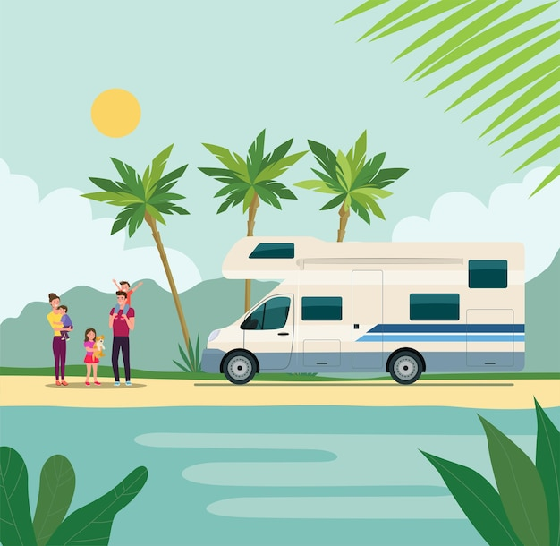Camper con una famiglia in vacanza.