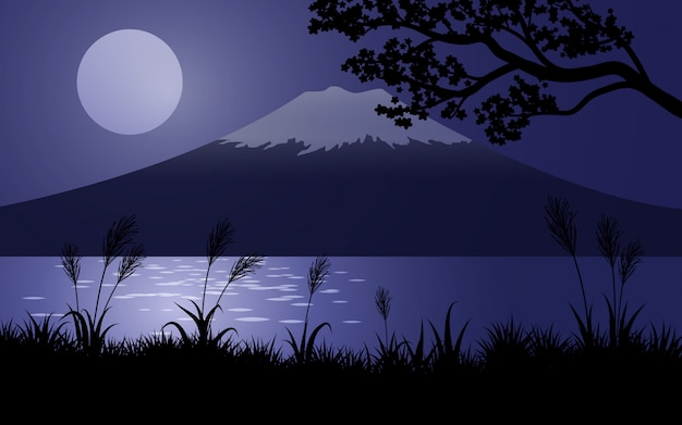 Monte fuji di notte con la luna piena