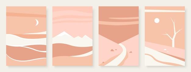 Il modello di paesaggio astratto di montagna per storie sui social media ha impostato la natura minima delle immagini a parete