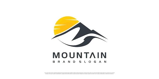Logo astratto di montagna con concetto creativo vettore premium