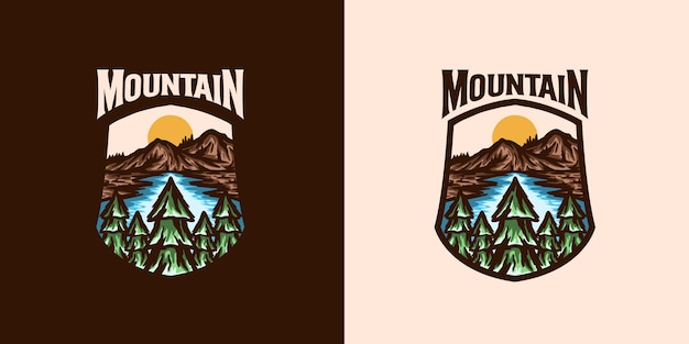 Modello di logo emblema avventura di montagna Vettore Premium