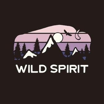 Grafica mountain adventure per t-shirt, stampe. emblema del campo di bufali disegnato a mano dell'annata. scena di viaggio invernale retrò estate, distintivo insolito. etichetta di tipografia di spirito selvaggio. vettore di riserva.