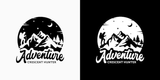 Ispirazione del modello di progettazione di logo di avventura di montagna