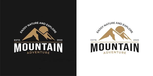 Design del logo avventura in montagna