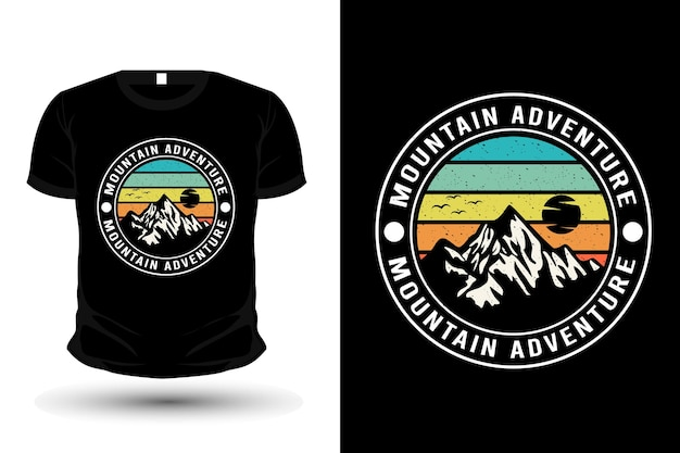 Modello di t-shirt silhouette merce avventura in montagna