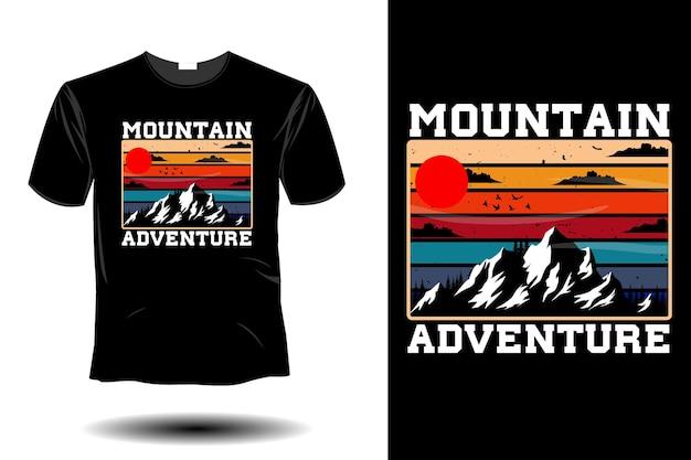 Design vintage retrò di mockup di avventura in montagna