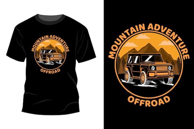 T-shirt fuoristrada avventura in montagna mockup design vintage retrò