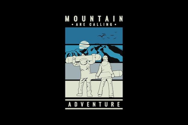 La montagna sta chiamando, design in stile nevischio