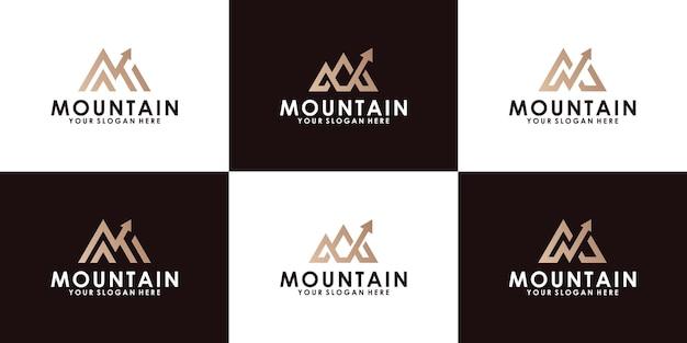 Logo di design ispirato a montagne e frecce con ispirazione per biglietti da visita