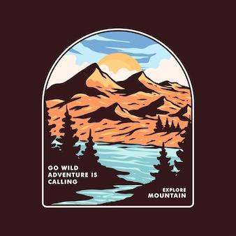 Vettore completo di logo distintivo di montagna