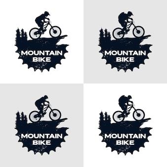 Ciclista e ingranaggio modello logo mountain bike