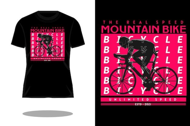 Design moderno della maglietta della silhouette di mountain bike