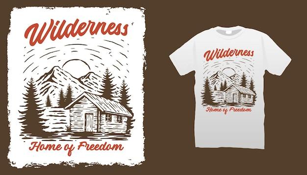 Modello di t shirt mountain cabin