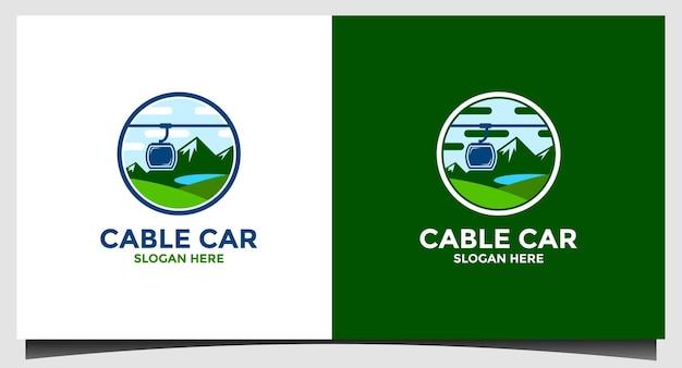Modello di logo della funivia di montagna