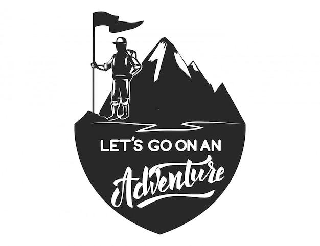 Modello di emblema del campo di montagna. elemento per logo, etichetta, emblema, segno. illustrazione