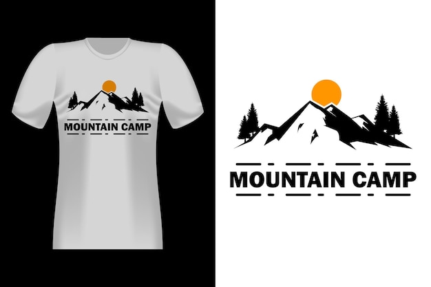 Design vintage per t-shirt con sagoma di accampamento di montagna