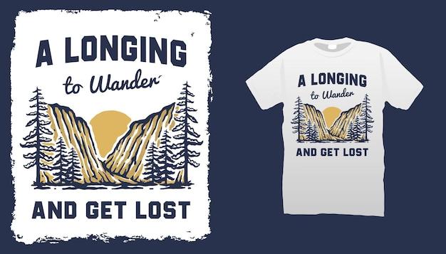 Modello di t-shirt da campeggio in montagna